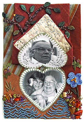 bead journal project, Robin Atkins, I Miss You Dad, detail showing book under tip of tie