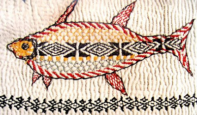 Kantha quilt, detail showing embroidery of a fish