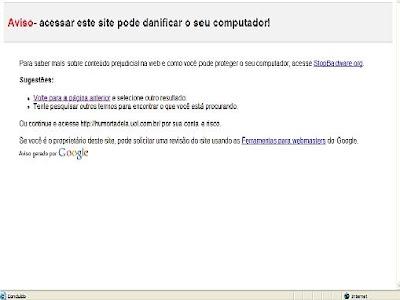 Foto mostrando o site do HumorTadela fora do ar com aviso de malware