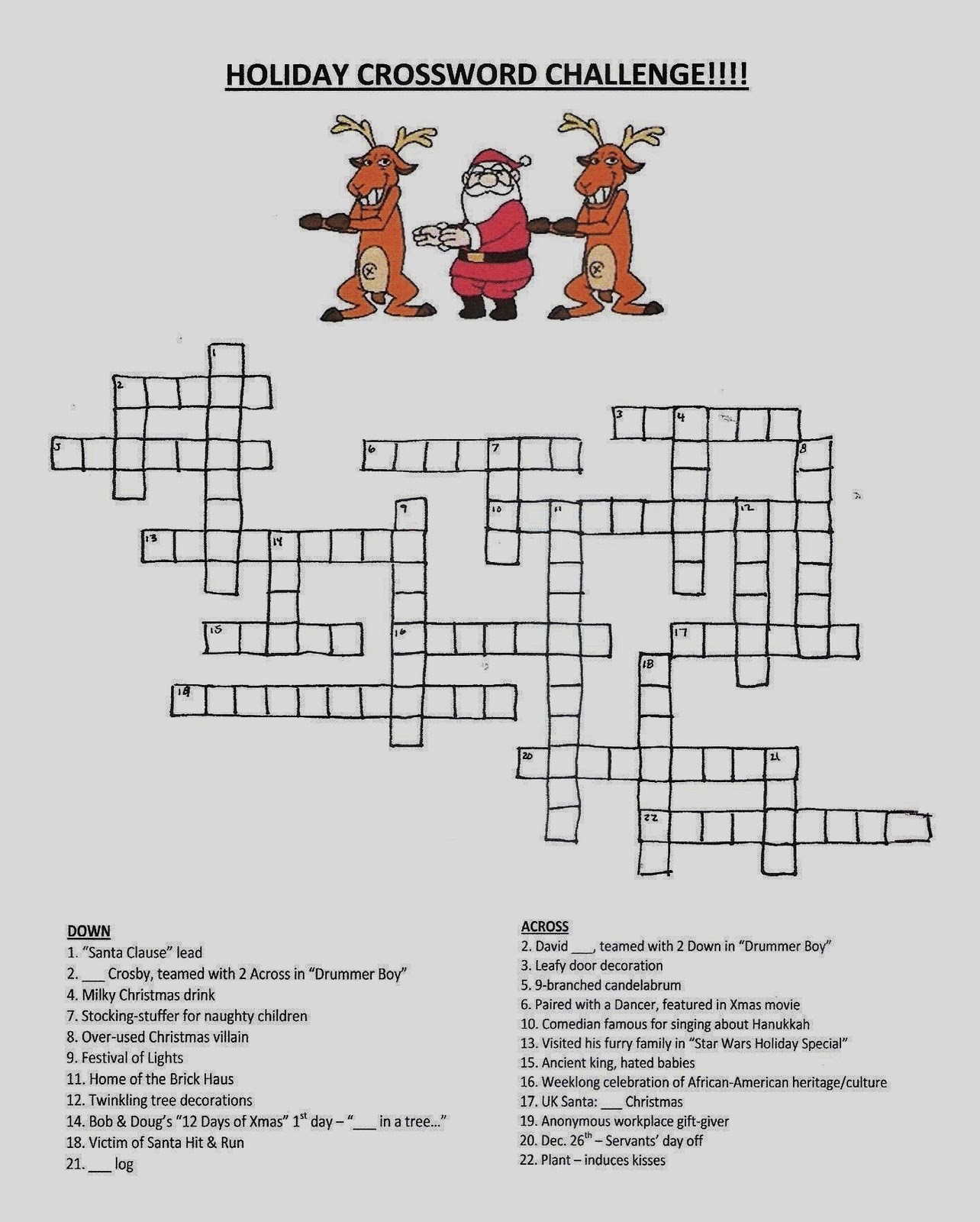 Jons Blog Holiday Crossword Puzzle