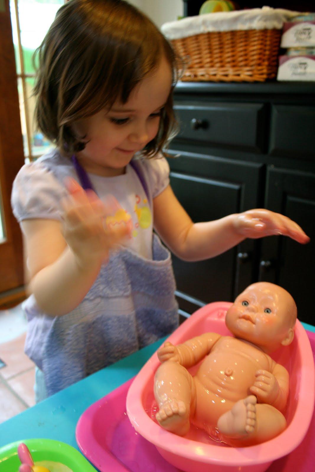 Pink And Green Mama Preschool At Home Washing Baby Dolls