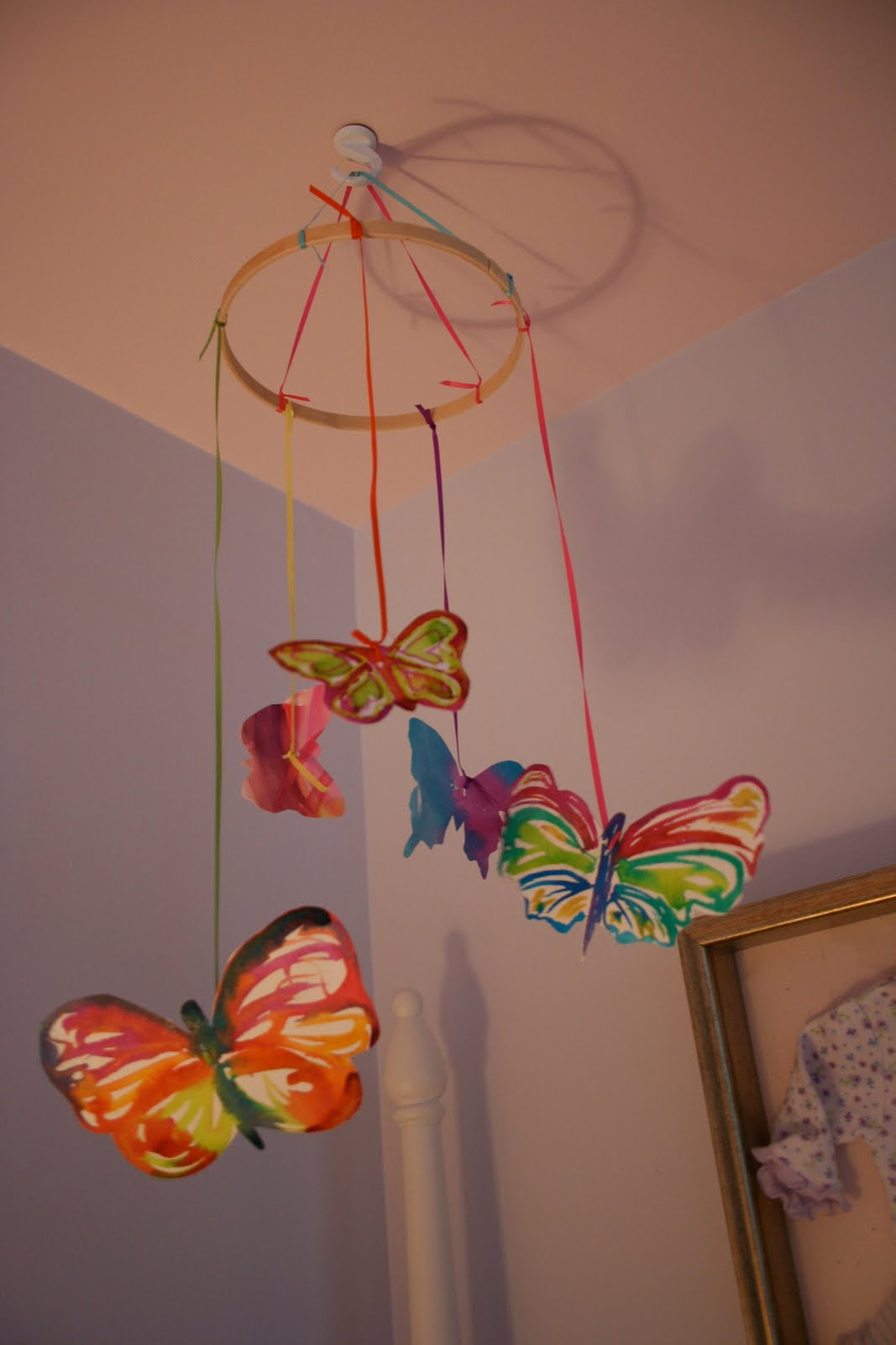 pink and green mama  butterfly mobile with watercolor paper