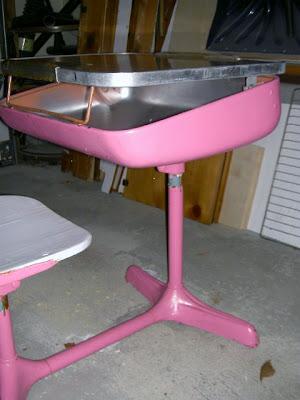 vintage pink school desk
