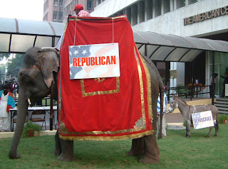 Live elephant and donkey welcome guests at U.S. Presidential election watch event
