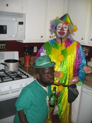 Clown midget in home