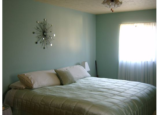 The Paint Is Olympic In Seasprite Egg Shell Finish Headboard Bedding Side Tables Lamps Lamp Shades Curtain Rods And Curtains Are From Target S