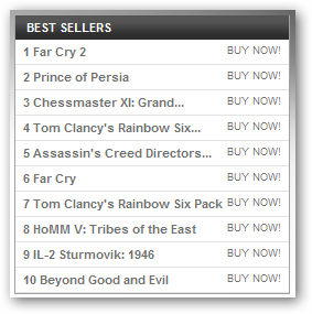 Prince of Persia in the Top Seller List