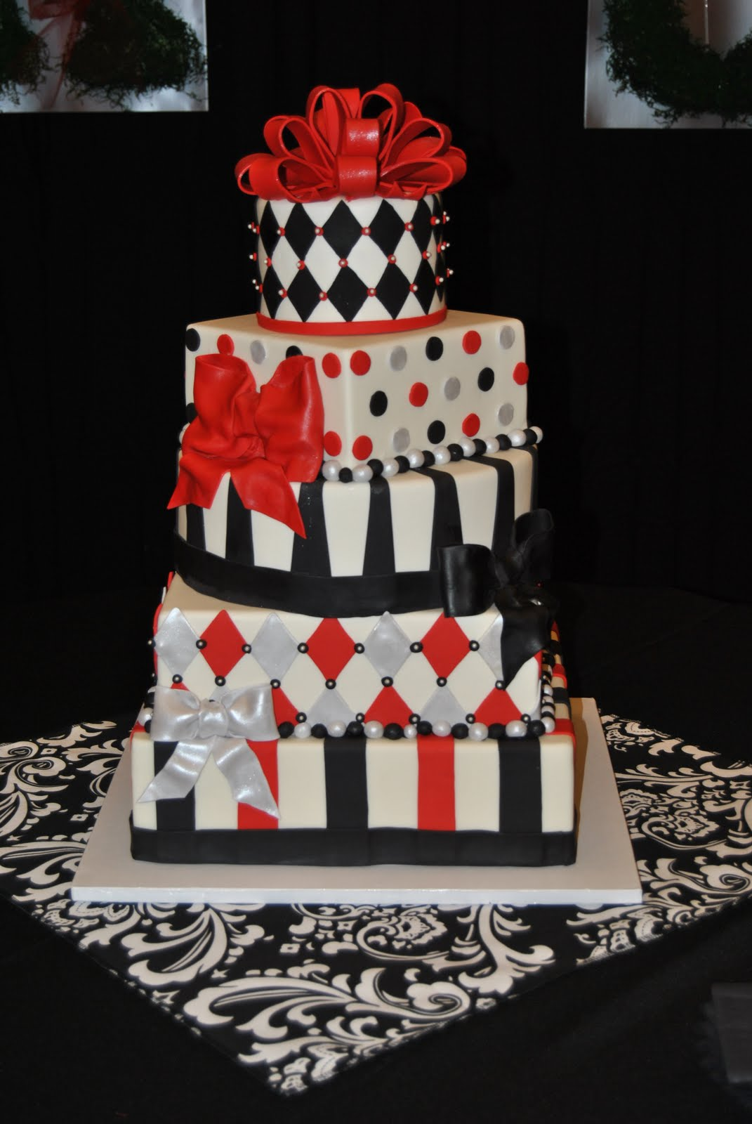 red black and silver wedding cakes sassy cakes your fondant cake design destination 19110