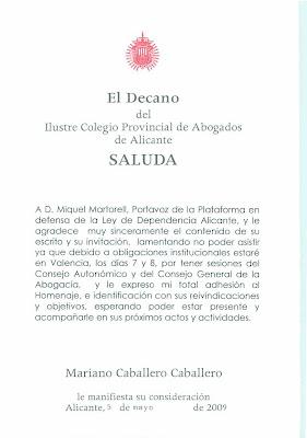 Saluda y adhesión a la convocatoria del Decano del Ilustre Colegio Pronvicial de Abogados de Alicante