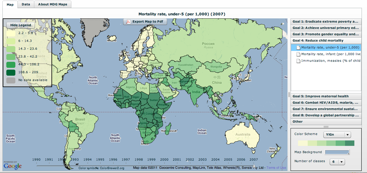 Free Technology for Teachers: MDG Maps - Millenium Development Goal Maps