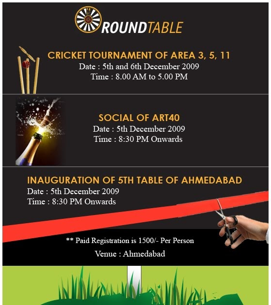 Invitation For Corporate Cricket Tournament: AREAXI-Round Table India: Invitation