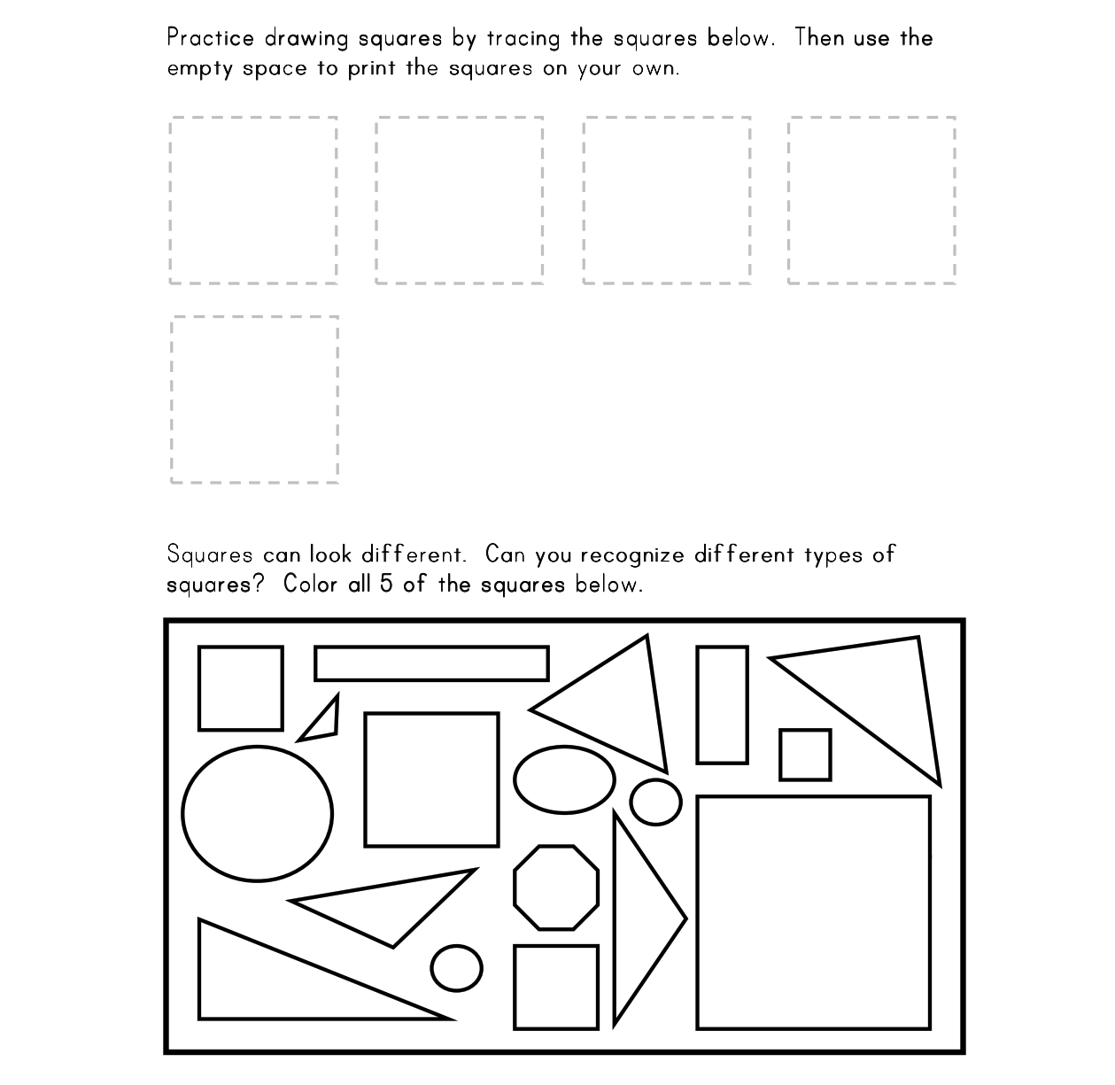 Beautiful Shape Square 1 Worksheet Free Printable Worksheets