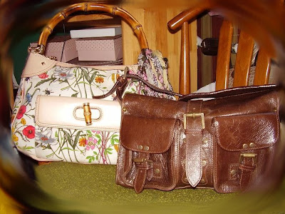 b0a0f6a73a floral canvas with bamboo details bag - Gucci brown leather handbag -  Mulberry