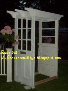 Garden Arbor made from doors and crib parts & Garden Arbor made from doors and crib parts - My Repurposed Life®