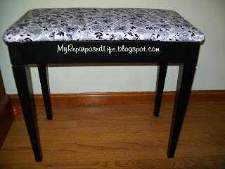 pretty upholstered piano bench makeover