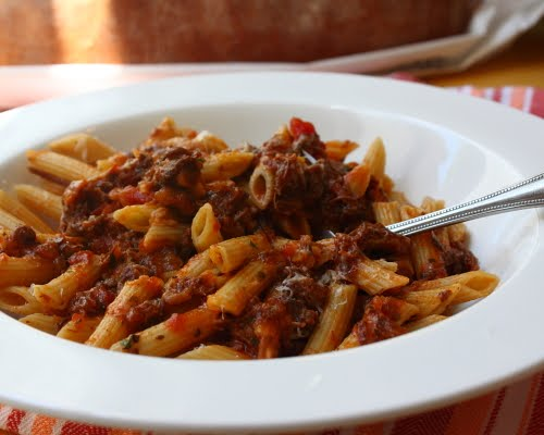 Paleo Penne Pasta with Simple Beef Neck Sauce