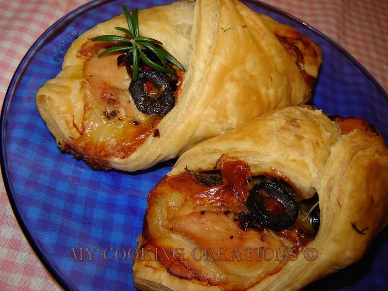 Пликчета от бутер тесто с пиле с маслини * Involtini pasta sfoglia al pollo e olive