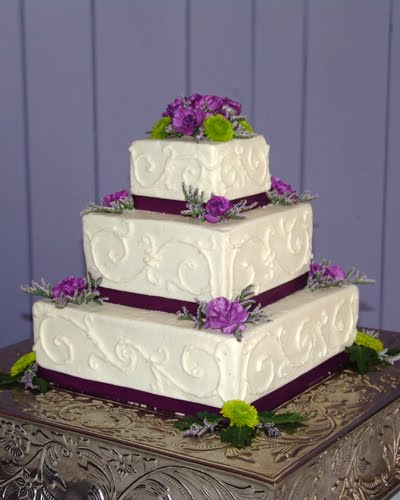 square wedding cake with purple ribbon wedding cakes pictures purple amp green square wedding cakes 20438
