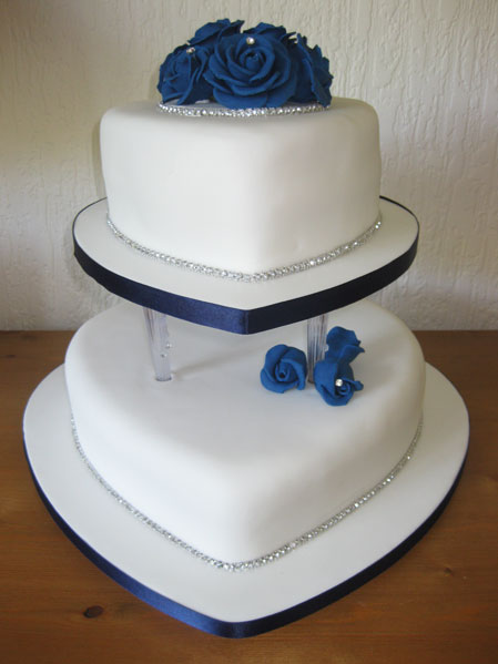 Midnight blue and white heart wedding cake