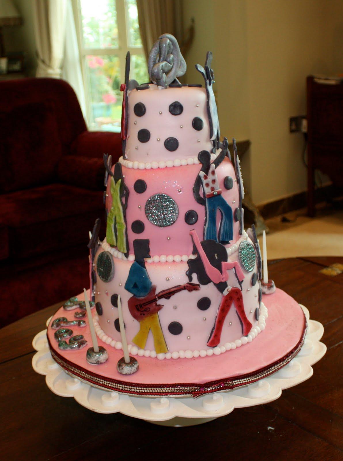 80 S Disco Theme Cake For 40 Something Birthday