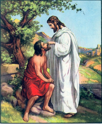 Jesus and a blind man - Artist unknown