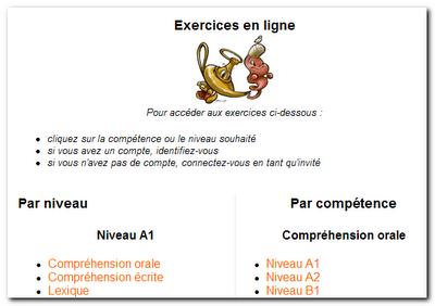 LPDA: Exercices en ligne    تمارين لغة فرنسية أون لاين