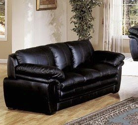 Plush Contemporary Black Leather Sofa Couch