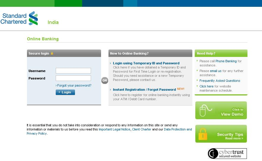 Screenshot Of Standard Chartered Online Banking Login Page Go