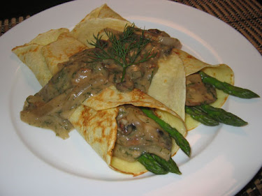 Asparagus Crepes with Mushroom Dill Sauce