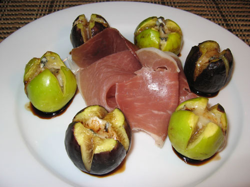 Figs Stuffed with Gorgonzola and Drizzled in Balsamic Reduction with Prosciutto