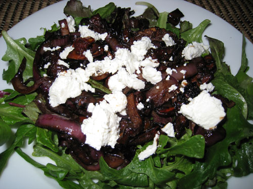 Warm Mushroom, Sun Dried Tomato and Goat Cheese Salad