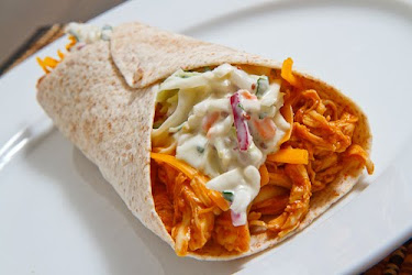 BBQ Chicken with Blue Cheese Slaw Wraps