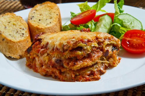 Eggplant Parmesan with Salad and Garlic Bread