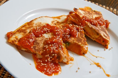 Pineapple Dak Bulgogi Quesadillas (Korean Spicy Pineapple BBQ Chicken Quesadillas)
