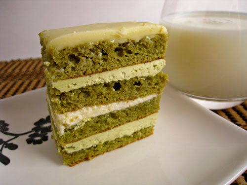 Gree Tea and White Chocolate Opera Cake, Small Slice