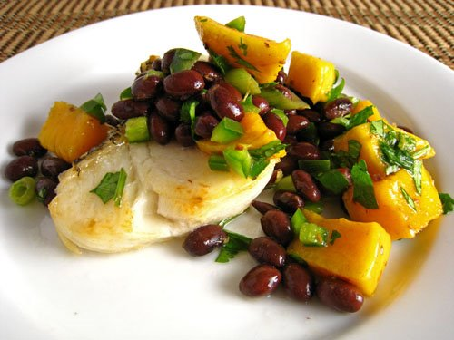 Sea bass with mango and black bean salsa recipe on closet for Turkish sea bass recipe