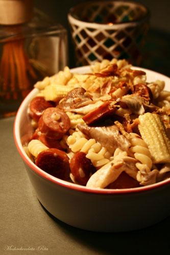 Creamy Fusili with Sausages, Mushrooms & Baby Corn