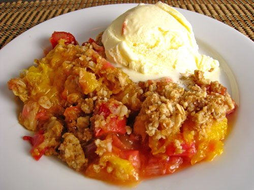 Mango and Rhubarb Crumble