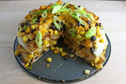 Corn and Black Bean Tortilla Pie - Sliced