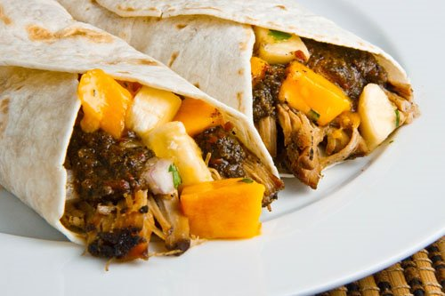 Jerked Pulled Pork Wraps with Mango and Banana Relish