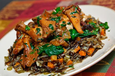 Chicken and Chanterelles on Spinach and Wild Rice