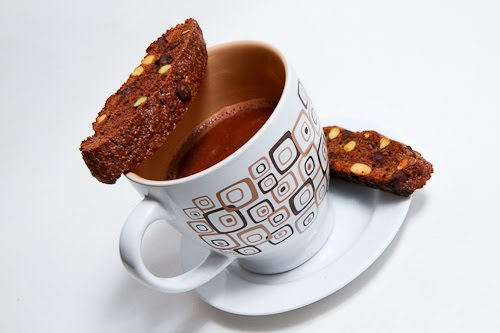 Chocolate and Pistachio Biscotti with Hot Chocolate