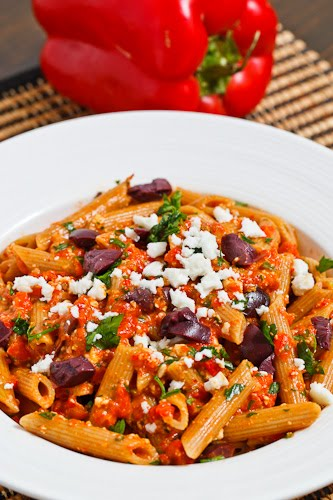 Greek Roasted Red Pepper Pesto Pasta with Feta and Kalamata Olives