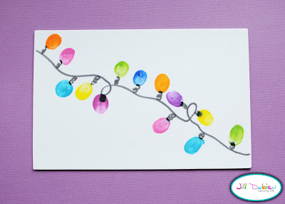 thumbprint Christmas lights craft, Christmas crafts, kids crafts