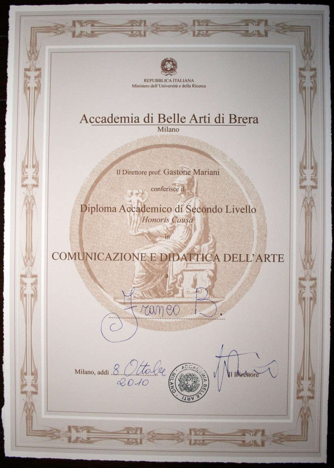 Franko b news honorary degree for Laurea in belle arti