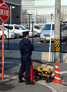 Police guarding the Chinese consulate in Nagoya