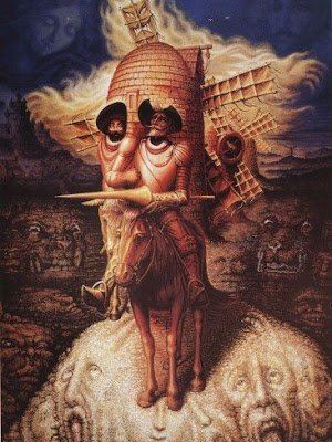 optical illusions don quixote face mysterious lips spanish dali hidden faces salvador vision tricks illusion paintings ocampo octavio quijote painting