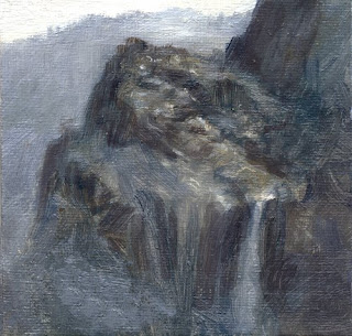 waterfall cliff oil painting