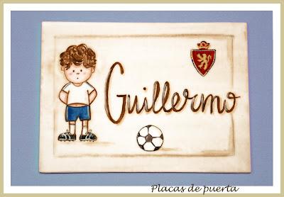 placa de puerta infantil futbolista Zaragoza babydelicatessen