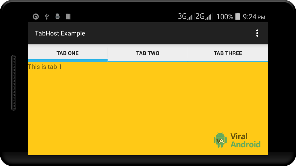 Tabs brand users slow to switch betwixt dissimilar views or functional aspects of an applic Simple Android TabHost together with TabWidget Example
